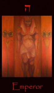 Tarot Emperor sun Aries, major arcana tarot card. A fine art symbolic original oil painting of this image from a tarot divination deck.