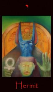 Tarot Hermit signifying Sun in Virgo from the occult tarot deck Tarot of the Morning Star