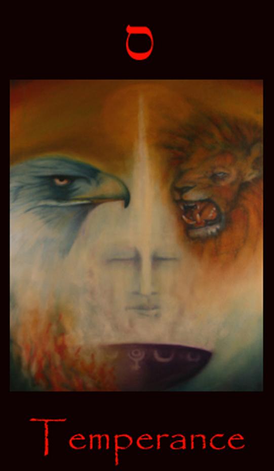 Tarot Temperance, Temperance major arcana tarot card. Incorporating metaphysical, shamanic and alchemical concepts