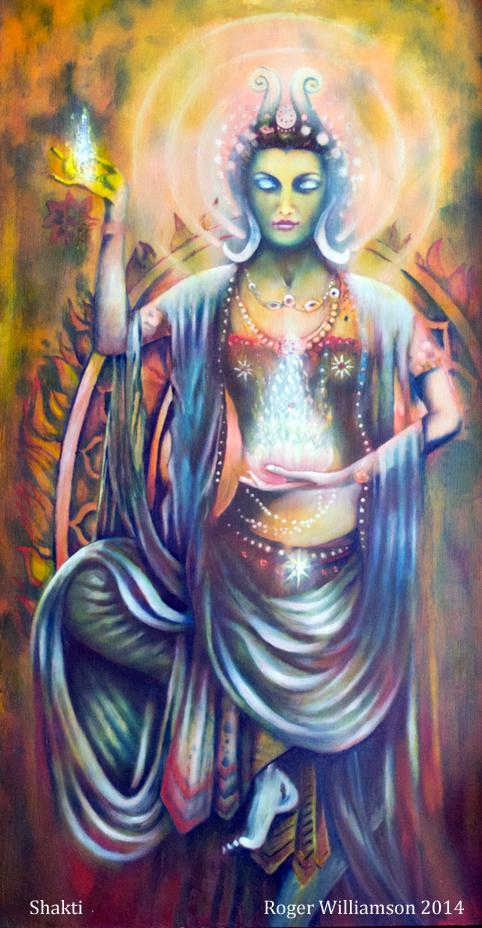 A depiction of Hindu Goddess Shakti in a traditional pose. Goddess Shakti, tantra, hindu